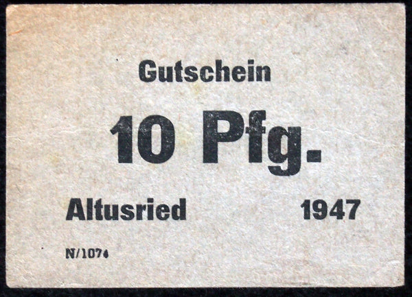 "ALTUSRIED 1947 ""Georg Fähnle"" small cardboard post-WWII German Notgeld"
