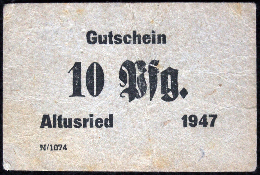 "ALTUSRIED 1947 ""O.F. Brändle"" small cardboard post-WWII German Notgeld"