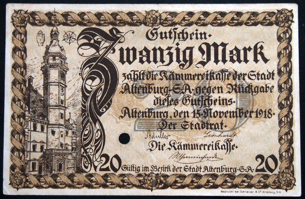ALTENBURG 1918 20 Mark Grossnotgeld German Notgeld Banknote D-55431