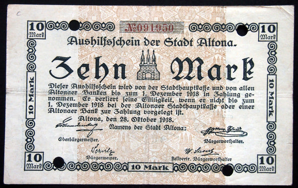 ALTONA (HAMBURG) 1918 10 Mark Grossnotgeld German Notgeld Banknote 091950