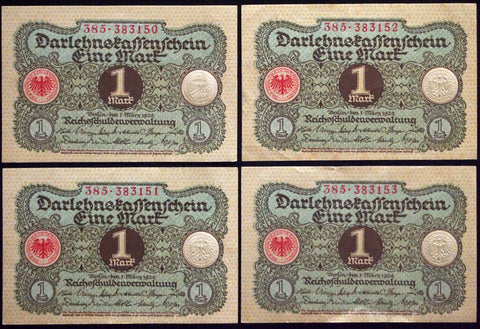 GERMANY 1920 4pcs consecutive serials! 1 Mark P-58 banknotes 385-383150