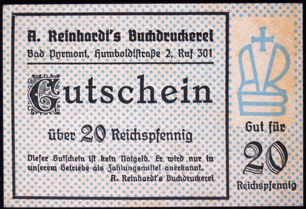 "BAD PYRMONT ""A. Reinhardt's Book Press"" 20 Pf post-WWII German Notgeld no serial"