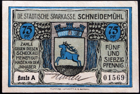 SCHNEIDEMÜHL 1921 rare hand-signed 75 Pf German Notgeld Posen today Poland #1569