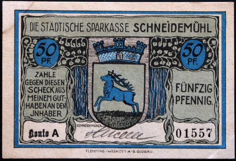 SCHNEIDEMÜHL 1921 rare hand-signed 50 Pf German Notgeld Posen today Poland #1557