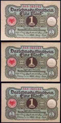 GERMANY 1920 3pcs consecutive serials! 1 Mark P-58 banknotes 385-383163