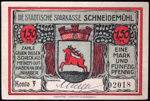 SCHNEIDEMÜHL 1921 rare hand-signed 50 Pf German Notgeld Posen today Poland #2018