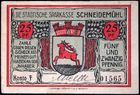 SCHNEIDEMÜHL 1921 rare hand-signed 50 Pf German Notgeld Posen today Poland #1565