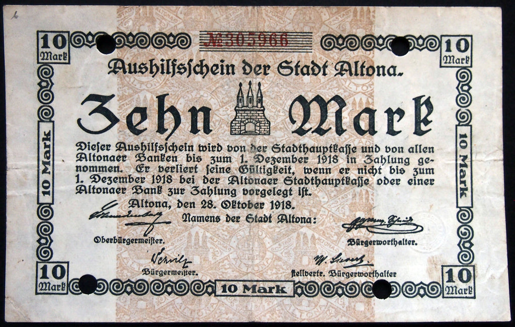 ALTONA (HAMBURG) 1918 10 Mark Grossnotgeld German Notgeld Banknote 305966