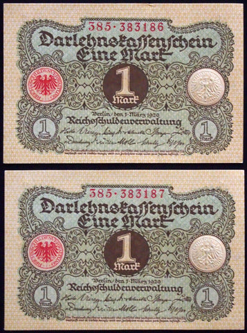 GERMANY 1920 2pcs consecutive serials! 1 Mark P-58 banknotes 385-383186