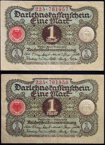 GERMANY 1920 2pcs consecutive serials! 1 Mark P-58 banknotes 224-781957