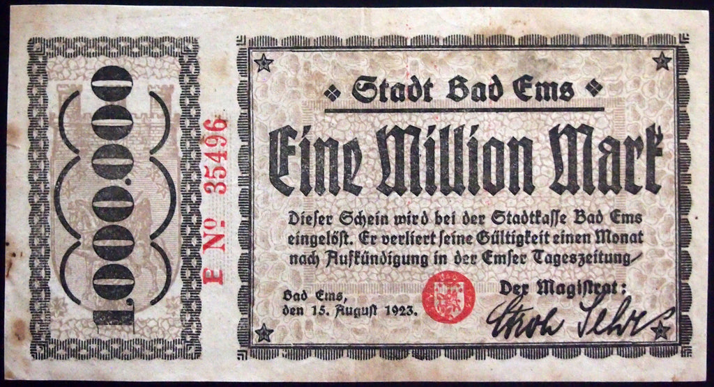 BAD EMS 1923 1 Million Mark Inflation Notgeld Banknote Germany