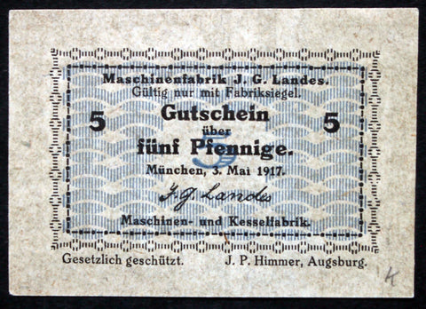 "MUNICH 1917 ""J. Landes Machine Factory"" 5 Pf circulating German Notgeld"