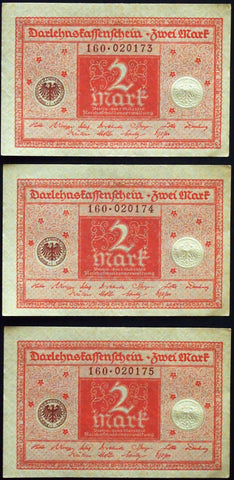 GERMANY 1920 3pcs consecutive serials! 2 Mark P-59 banknotes 160-020173