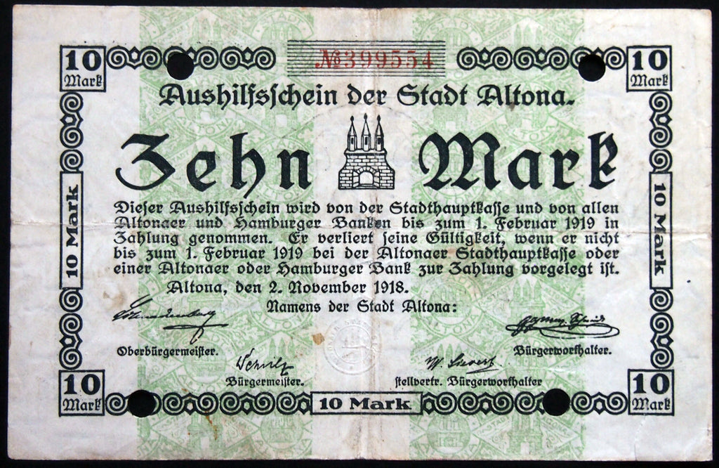 ALTONA (HAMBURG) 1918 10 Mark Grossnotgeld German Notgeld Banknote 399554