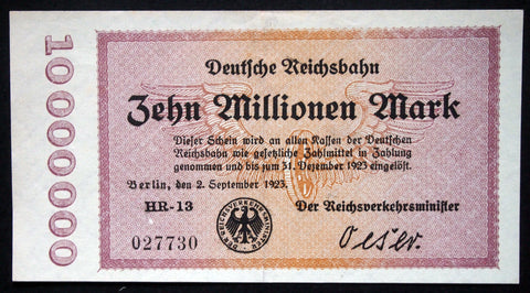 BERLIN REICHSBAHN 1923 10 Million Mark S1014 German Railroad Inflation 027730