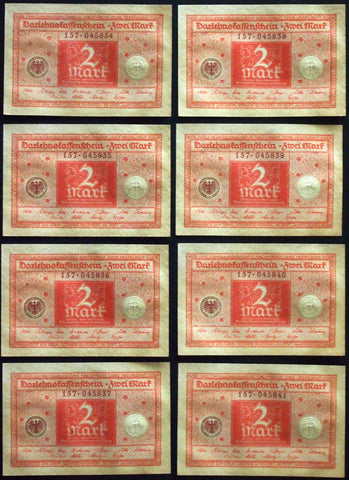 GERMANY 1920 8pcs consecutive serials! 2 Mark P-59 banknotes 157-045834