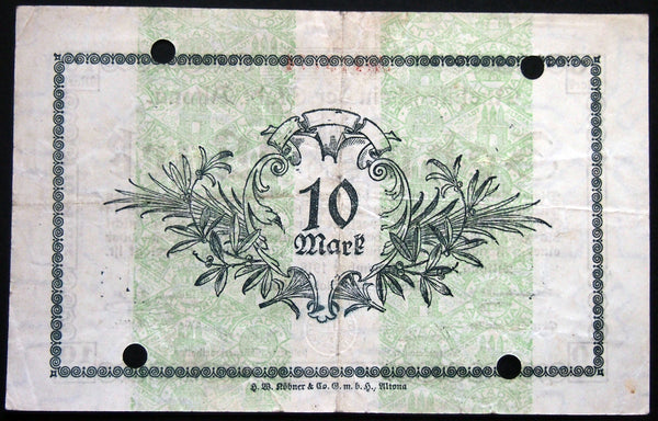 ALTONA (HAMBURG) 1918 10 Mark Grossnotgeld German Notgeld Banknote 413773