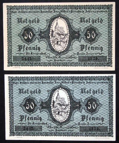 2pcs ZEVEN 1920 50 Pf circulating German Notgeld