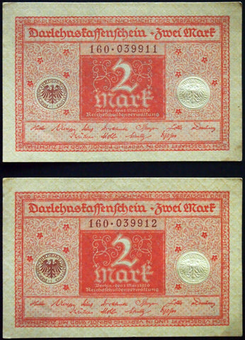 GERMANY 1920 2pcs consecutive serials! 2 Mark P-59 banknotes 160-039911