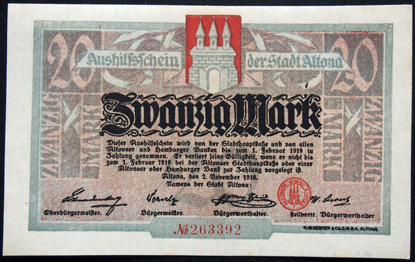 ALTONA (HAMBURG) 1918 20 Mark Grossnotgeld German Notgeld Banknote 263392
