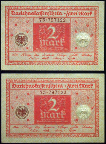GERMANY 1920 2pcs consecutive serials! 2 Mark P-59 banknotes 73-797122