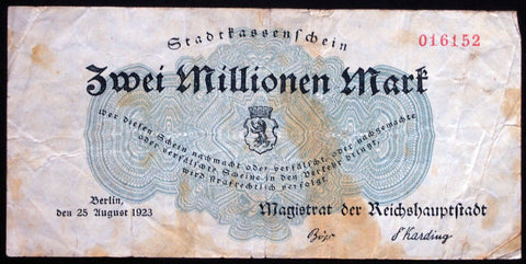 BERLIN 1923 rare 2 Million Mark Inflation Notgeld Germany no series letter!