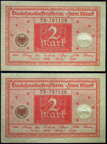 GERMANY 1920 2pcs consecutive serials! 2 Mark P-59 banknotes 73-797129