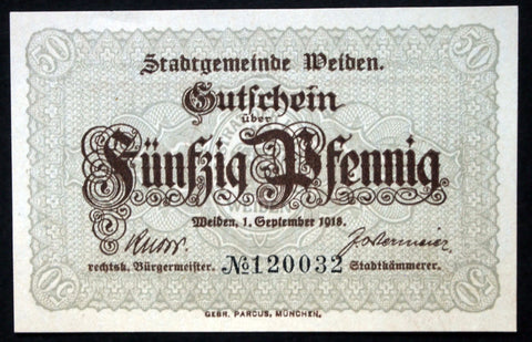 WEIDEN 1918 50 Pf rarer brown circulating Notgeld Germany Bavaria