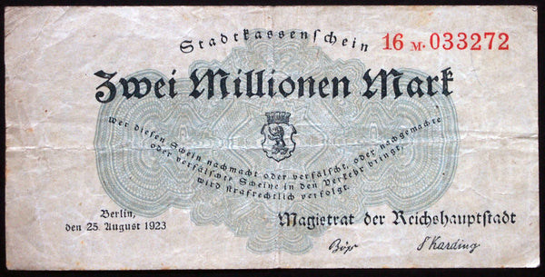 BERLIN 1923 2 Million Mark Inflation Notgeld Germany