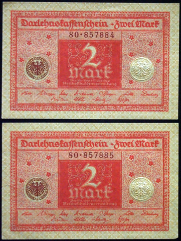 GERMANY 1920 2pcs consecutive serials! 2 Mark P-59 banknotes 80-857884