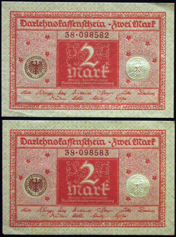 GERMANY 1920 2pcs consecutive serials! 2 Mark P-59 banknotes 38-098582