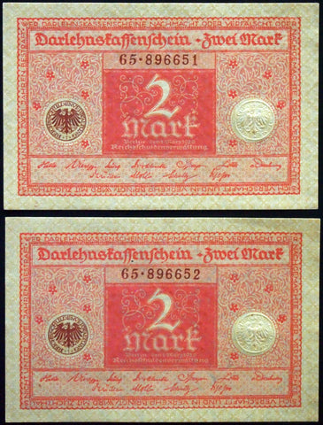 GERMANY 1920 2pcs consecutive serials! 2 Mark P-59 banknotes 65-896651