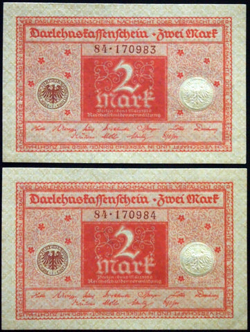 GERMANY 1920 2pcs consecutive serials! 2 Mark P-59 banknotes 84-170983