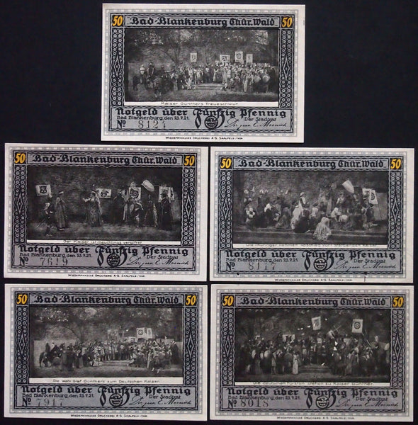 "BAD BLANKENBURG 1921 ""Kaiser Günther"" complete series German Notgeld"