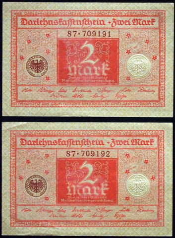 GERMANY 1920 2pcs consecutive serials! 2 Mark P-59 banknotes 87-709191