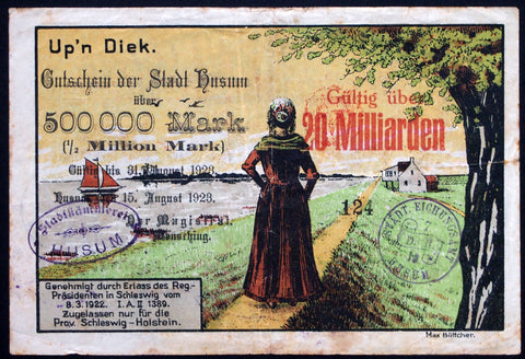 HUSUM 1923 Beautiful big note printed on LOTTERY TICKET! 20 Billion Mk overprint on 500k Mk Inflation Notgeld