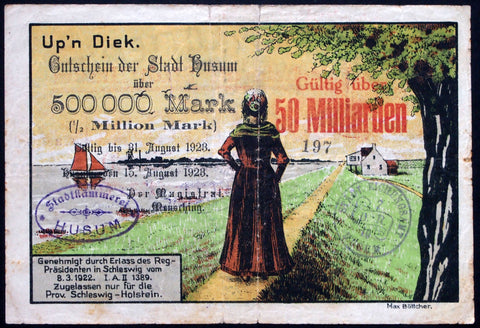 HUSUM 1923 Beautiful big note printed on LOTTERY TICKET! 50 Billion Mk overprint on 500k Mk Inflation Notgeld