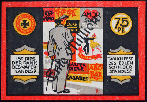 "Only 1 Known! HAMBURG 1923 1 Million overprint ""Injured WWI Veterans"" 75 Pf Notgeld Germany"