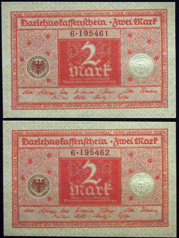 GERMANY 1920 2pcs consecutive serials! 2 Mark P-59 banknotes 6-195461