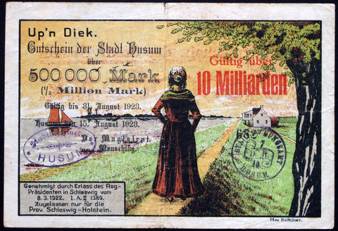 HUSUM 1923 Beautiful big note printed on LOTTERY TICKET! 10 Billion Mk overprint on 500k Mk Inflation Notgeld