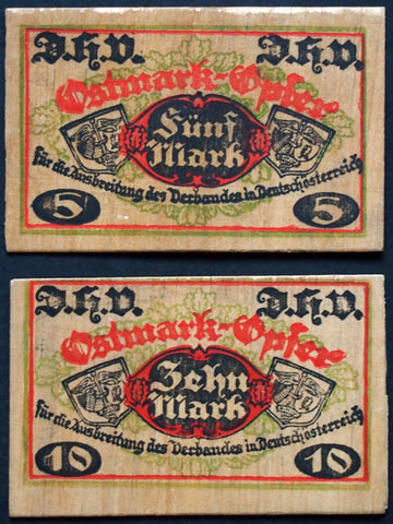 D.H.V. **RAREST of ALL WOODEN NOTGELD** complete series 5+10 Mark Germany