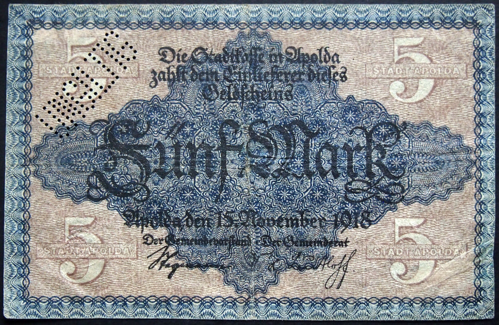 APOLDA 1918 5 Mark Grossnotgeld German Notgeld Banknote D-5102