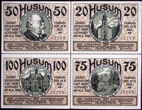 HUSUM 1921 uncut block of four German Notgeld matching serial numbers