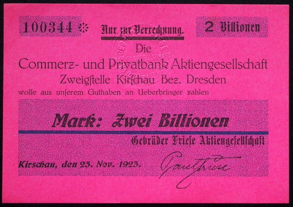 "KIRSCHAU 1923 ""Friese Bros."" 2 Trillion Mark Hyper-Inflation Notgeld Germany Pink"