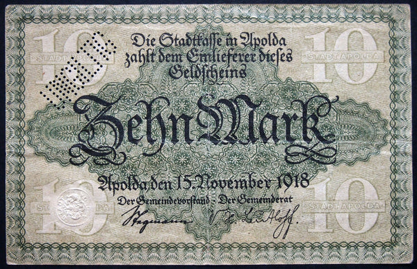 APOLDA 1918 10 Mark Grossnotgeld German Notgeld Banknote G-9225