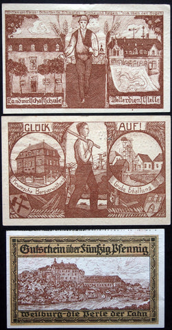 "WEILBURG 1920 ""Miner/Farmer"" complete set + 50 Pf circulating Notgeld Germany"