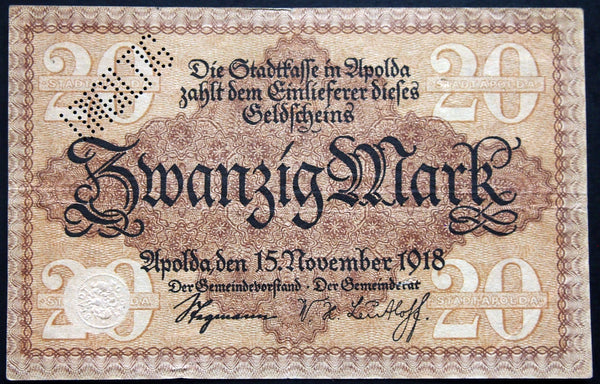 APOLDA 1918 20 Mark Grossnotgeld German Notgeld Banknote H-7640