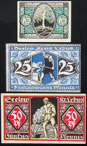 "SEELOW 1920 ""Farmer & Blacksmith"" complete set circulating Notgeld Germany"