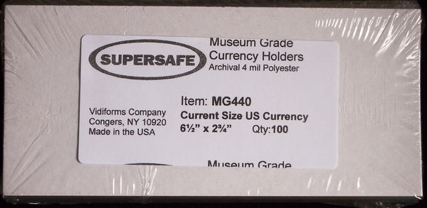 "10pcs Museum Grade 6.5"" x 2 3/4"" Currency Sleeves 4mil Supersafe MG440 Modern US"