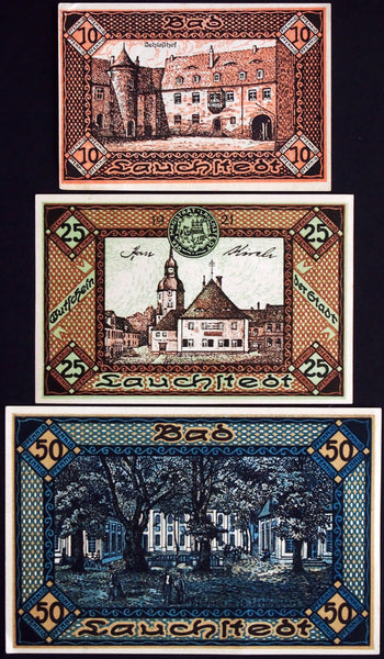 "BAD LAUCHSTEDT 1919 ""Goethe Theater, Healing Spring"" complete set German Notgeld"